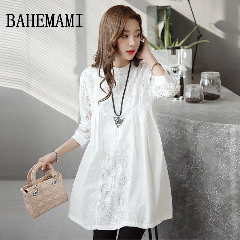 BAHEMAMI Lace Maternity Shirts three quarter Loose Blouses T