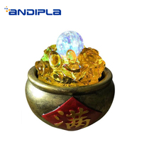 110/220V Creative Gold Natural Resin Water Fountain Pot Crystal Ball Scroll Bring Auspicious Desk Decoration Crafts Wedding Gift
