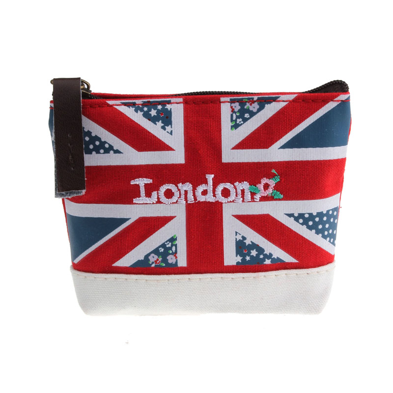 все цены на  2017 fashionable modern lady women Coin Purses Union Jack Embroidered Admission Package Canvas Coin Purse Hand Bag hot sale  онлайн
