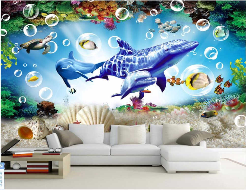 Us 1491 48 Off3d Wallpaper Custom Photo Mural Sea World Dolphin And Whale Shells Room Decor Painting 3d Wall Murals Wallpaper For Walls 3 D In