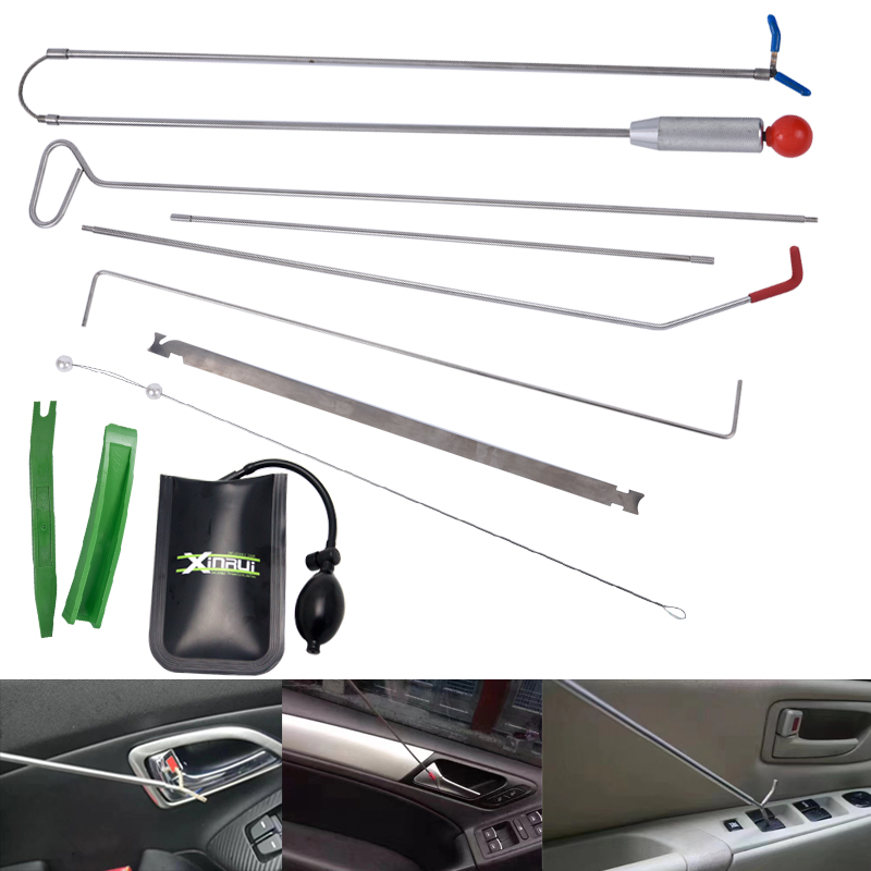 Xinrui Auto Car Tool Kit,Hail Ding Car Repair Starter Set,Locksmith Tool Radio Door Clip Panel With Air Pump Wedge Free Shipping-in Locksmith Supplies from Tools