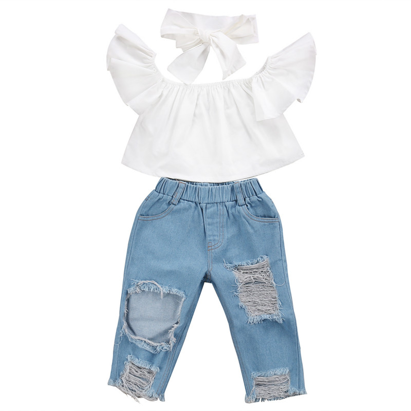 2017 New Fashion Children Girls Clothes Off shoulder Crop Tops White+ Hole Denim Pant Jean Headband 3PCS Toddler Kids Clothing 2017 new fashion kids clothes off shoulder camo crop tops hole jean denim pant 2pcs outfit summer suit children clothing set