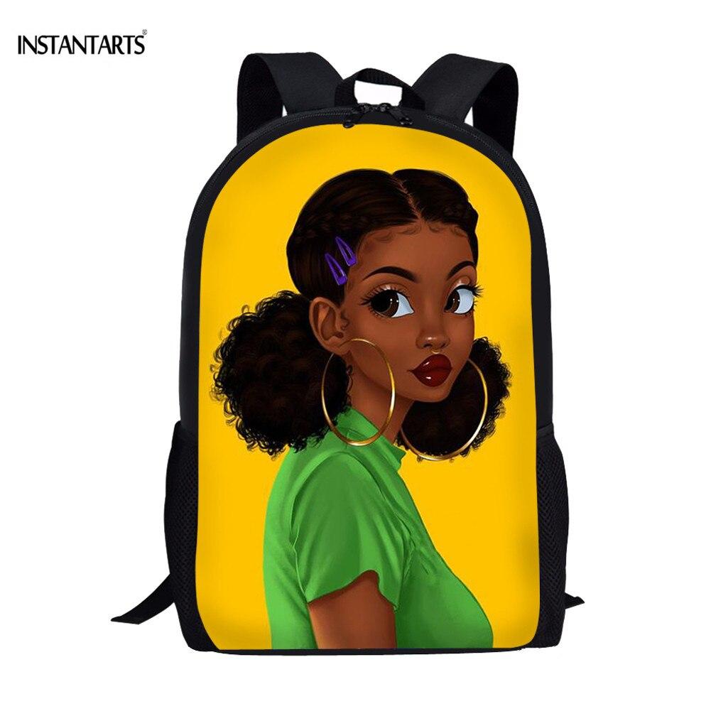 INSTANTARTS Black Queen African American Girl School Bags Teenagers Big Bookbags 3D Print Schoolbags Children Rucksack Mochilas