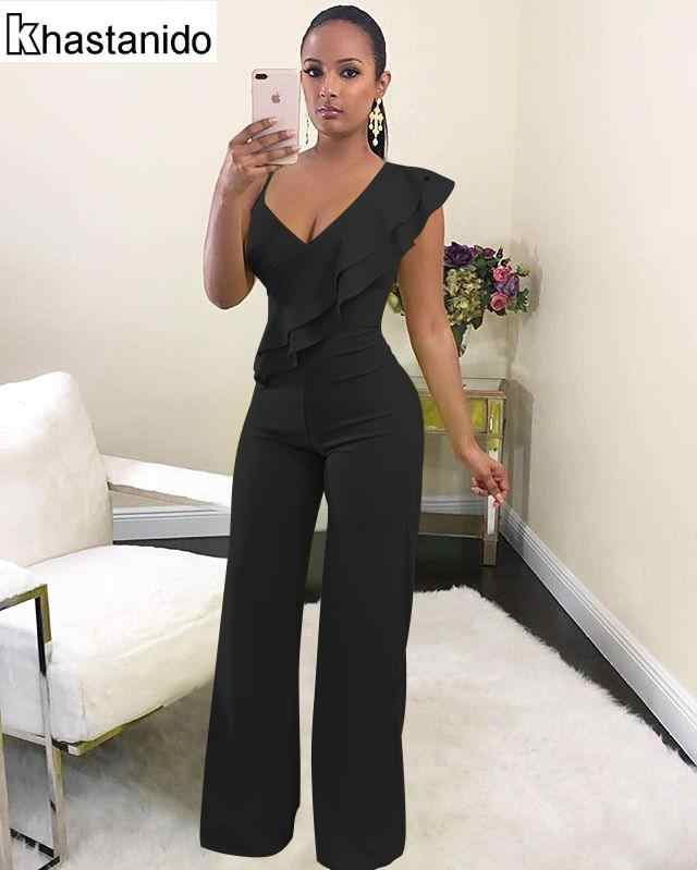 bede310ae00a Sexy Deep V Neck Ruffle Jumpsuit Women Rompers Elegant Casual Overalls  Black Loose Trousers Party Club