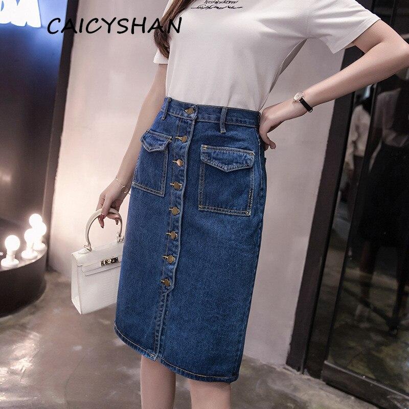 Nové letní dámské sukně módní Vestido Plus velikost pevné kapsy jednořadový džíny sukně pro ženy velké velikosti Denim Midiskirt  t