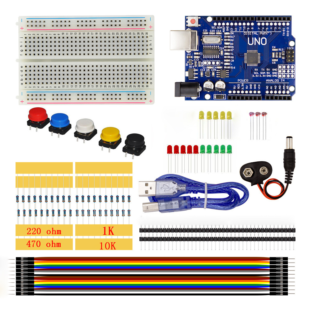 UNO Starter Kit 400 Breadboard LED Jumper Wire Button Switch Resistor 10K 1K Ohm Photore ...