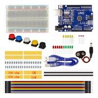 UNO Zestaw Startowy 400 Makiet Mostek LED Przycisk Przełącznika Rezystora 10 K 1 K Omów Fotorezystor 5516 Dla Arduino UNO R3 Z Pudełkiem