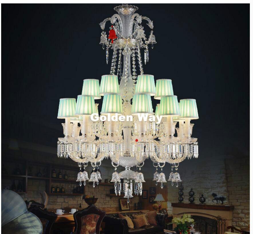 Doprava zdarma Moderní čirý lustr Obývací pokoj Evropské svíčky luxusní K9 křišťálový lustr světla AC 100% zaručená