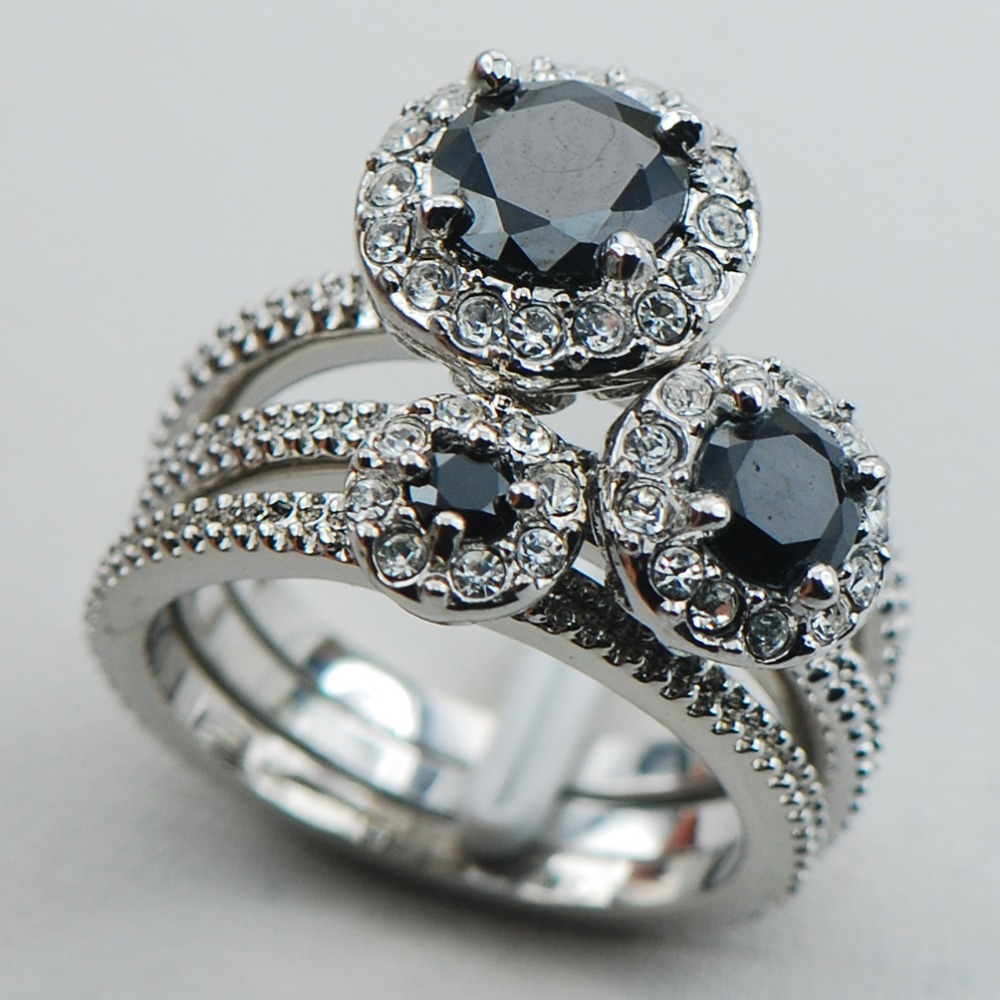 black onyx 925 sterling silver top quality fancy jewelry engagement wedding three ring size 6 7 - Onyx Wedding Ring