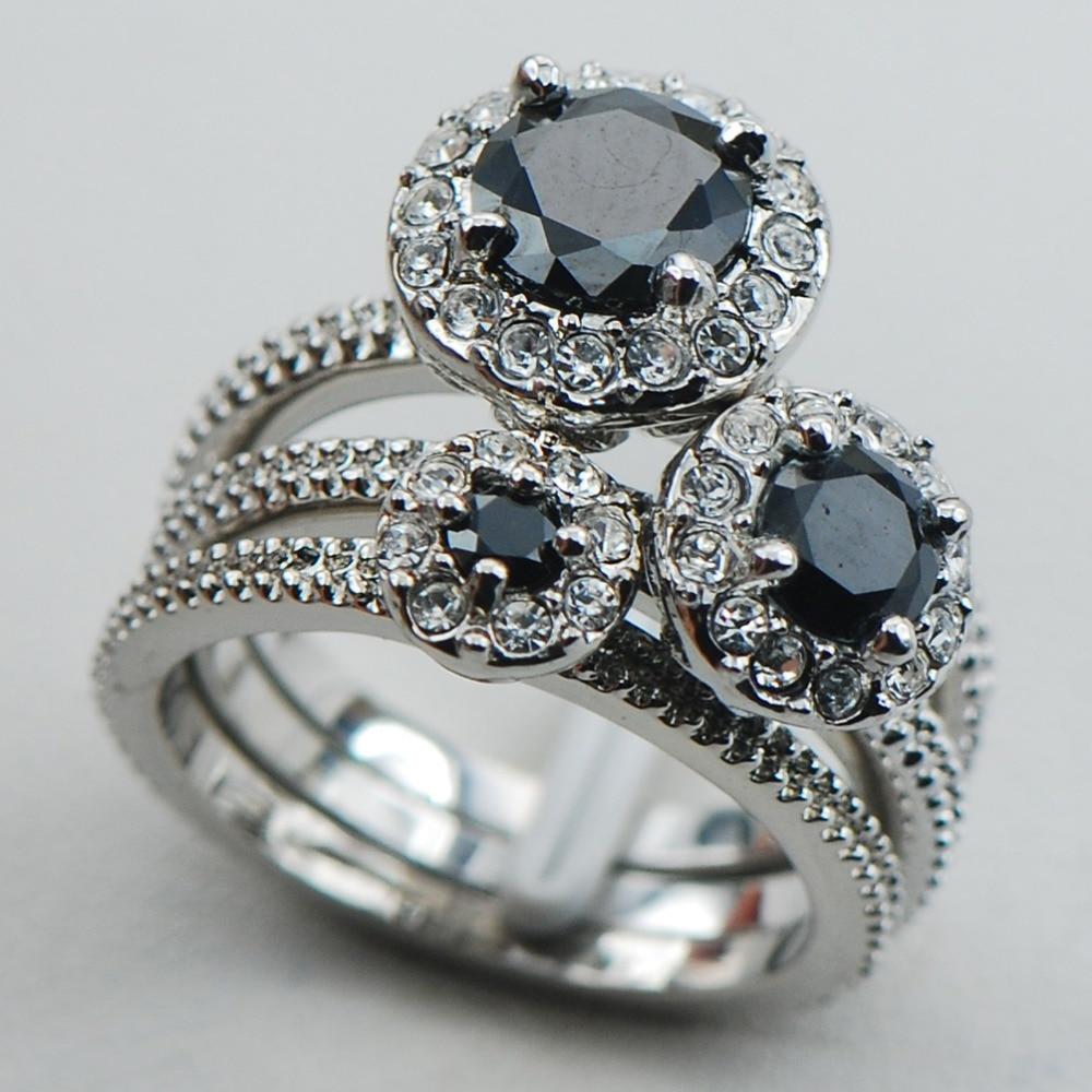 onyx wedding band Black White Diamond Engagement Ring infinity Diamonds band in 14K White Gold ES