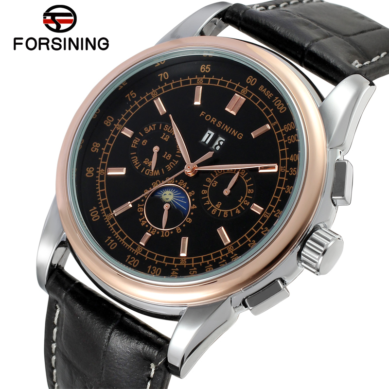 FSG319M3T3 New arrival promotion price Automatic men moon phase watch black genuine leather strap free shipping with gift box цена