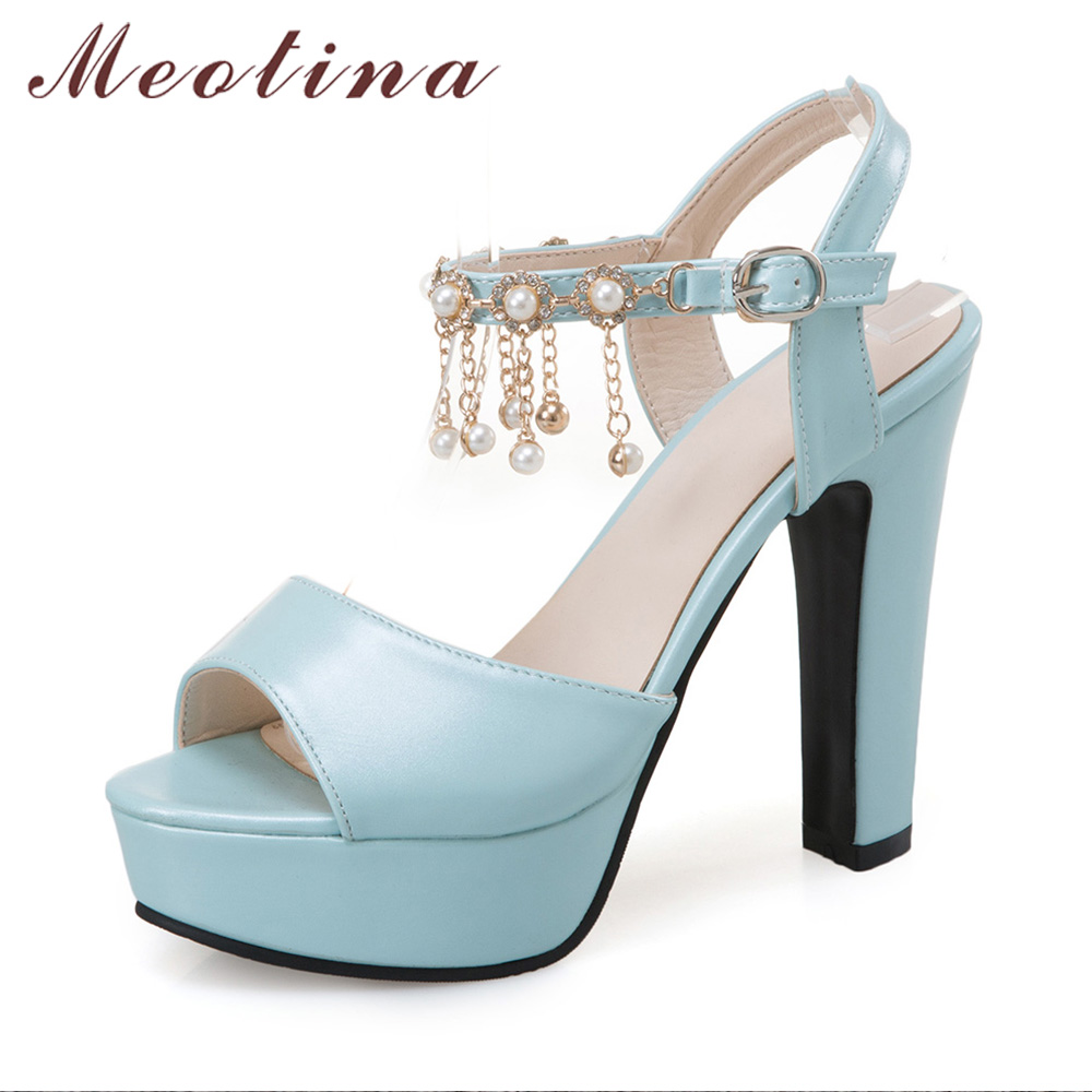 Womens sandals in size 12 - Meotina Shoes Women Summer Sexy Crystal High Heel Sandals Fringe Platform Shoes Tassel High Heels Sandals White Blue Size 11 12