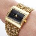 Venda quente! Rélógio analógico de luxo, com liga de metal, da Quartz, cor dourada/prateada.
