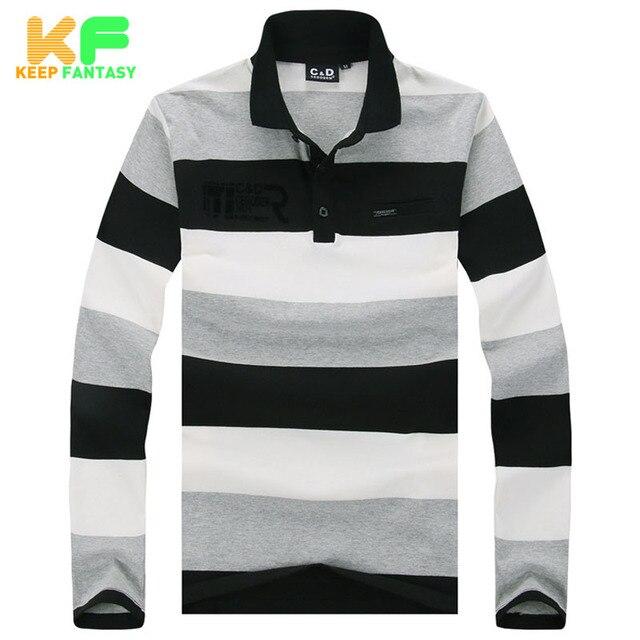 Полосатый рубашки поло мода марка - качественную одежду с длинным рукавом хлопок поло Homme манга ларга Camisas Masculina MPTS1523