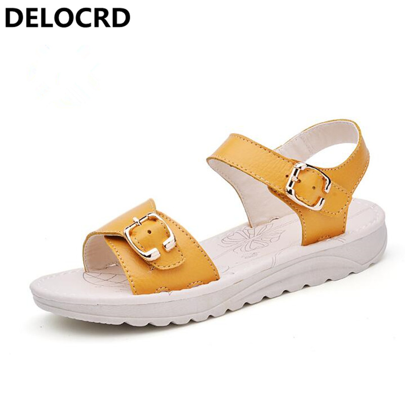 Summer New Sandals Non-slip Casual Sandals Flat Sandals and slippers Leather Pregnant women Shoes Flat Thick sandals Shoes Shoes classic leather sandals classic leather sandals women sandals summer sandals