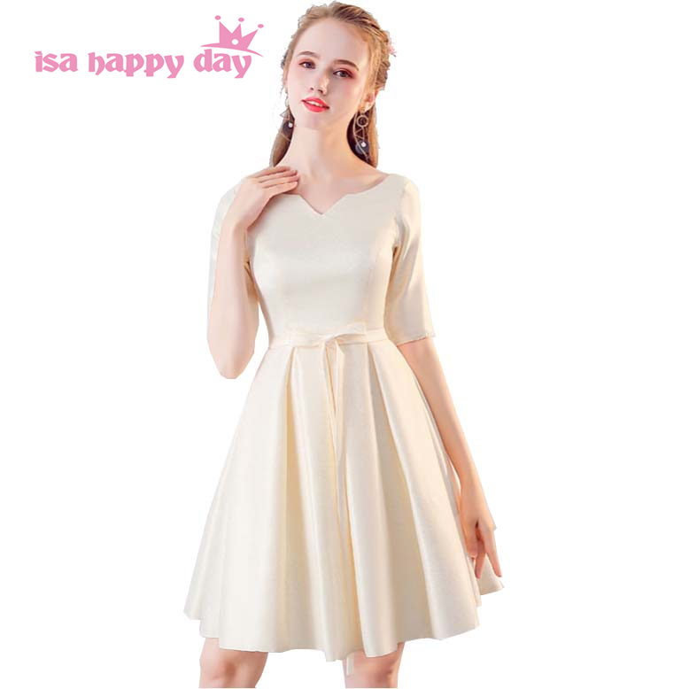 formal short length satin bridesmaid party dress 2019 new fashion bandage half sleeved dresses womens simple for party H4164