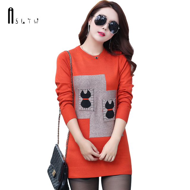 ASLTW Slim Sweater For Women Fashion O Neck Stitching Lady s Sweater Dress  Long Sleeve Women Sweaters and Pullovers 70ab06a9c2