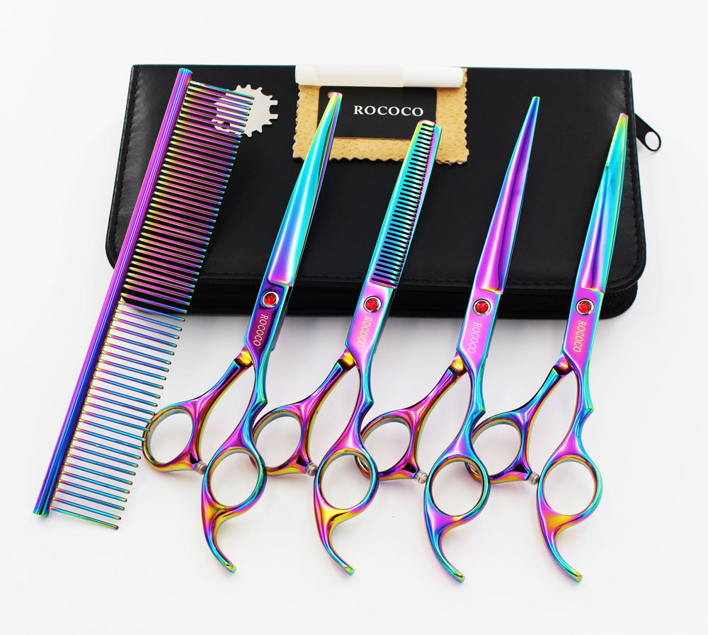 4pcs/set Pet Grooming Scissors Set  Professional Japan 440C Dog Shears Hair Cutting +Curved+ Thinning Scissors With Comb Bag 30 teeth thinning scissors thinning shears japan quaity 6 thinning scissors for hair salon s styling use