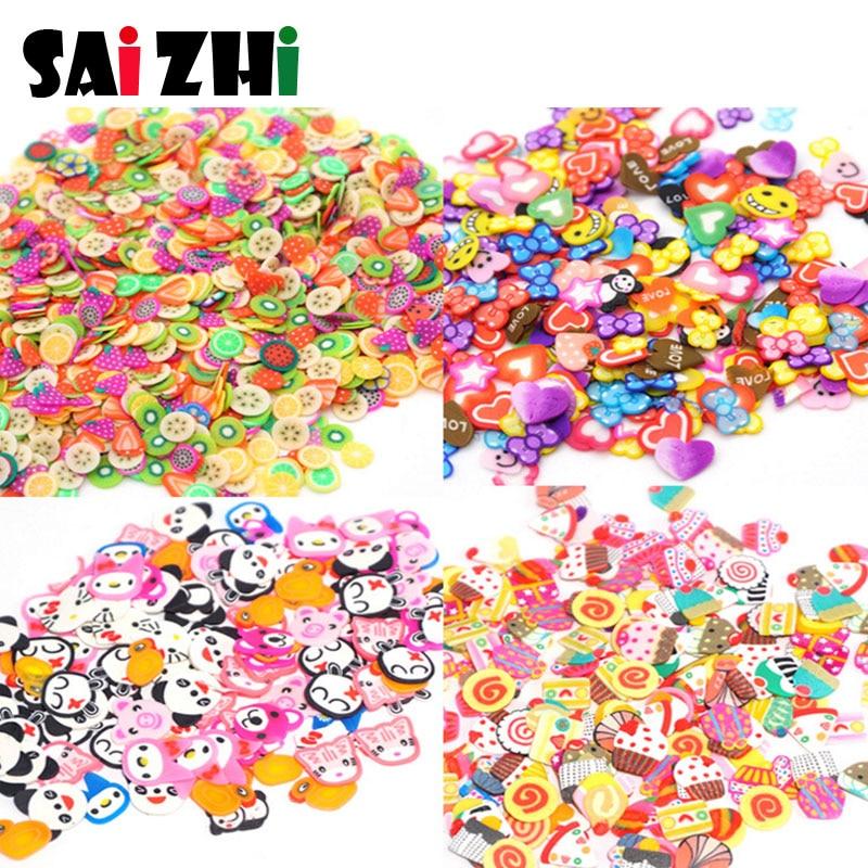 Saizhi 300Pcs DIY Coloful 3D Fruit Fimo Nail Art Decorations Slices Polymer Clay Makeup Tools SZ1871