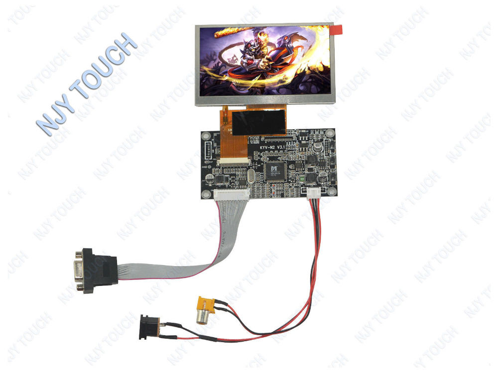 New VGA AV LCD Controller Driver Board Plus 4.3inch TFT AT043TN24 V1 480x272 Panel image
