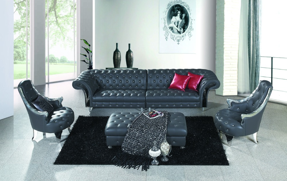 JIXINGE Modern High Quality Classical Living Room T Sofa Genuine Leather American Style Chesterfield