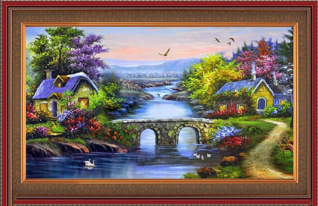 142330b97 scenery Diy 5D Diamond Painting Cross Stitch Full Diamond Embroidery Home  Decor cube Drill Best new year Gift