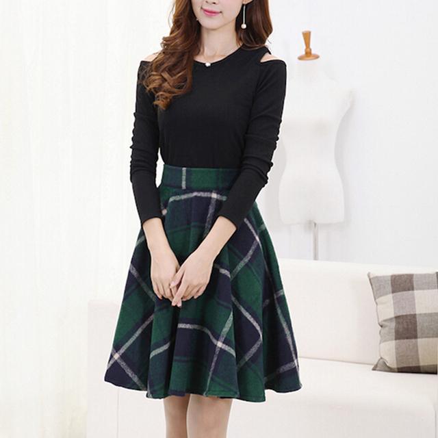 Faldas para mujer 2015 otoño falda de lana de invierno Casual Slim una línea de la tela escocesa Midi faldas mujer moda de cintura alta Saias Femininas