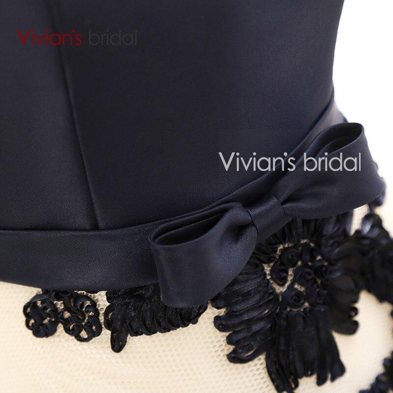 Vivian's Bridal Elegant A Line Evening Dresses Satin Floral Print Lace Long Formal Evening Gown Floor Length Women Party Dresses 16