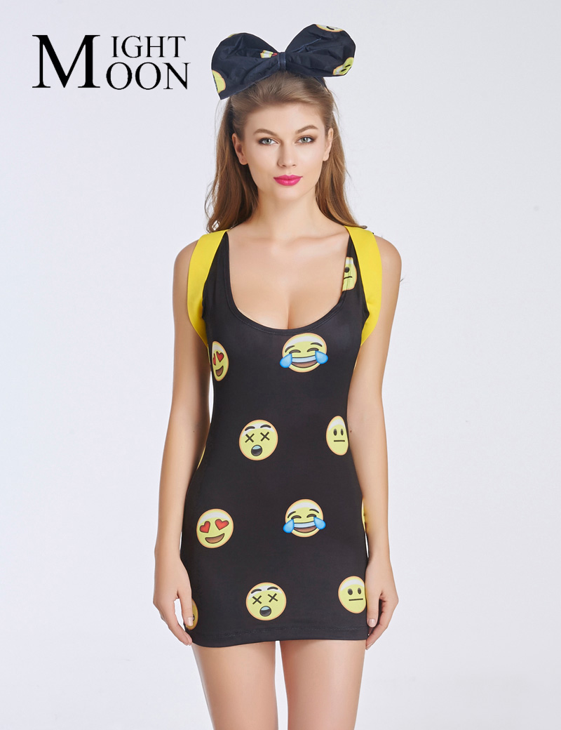 MOONIGHT Cute Emoji Dresses One-Piece Pleated Dress Women Dress With Emotion Hot Emoji Fashion Summer Dress