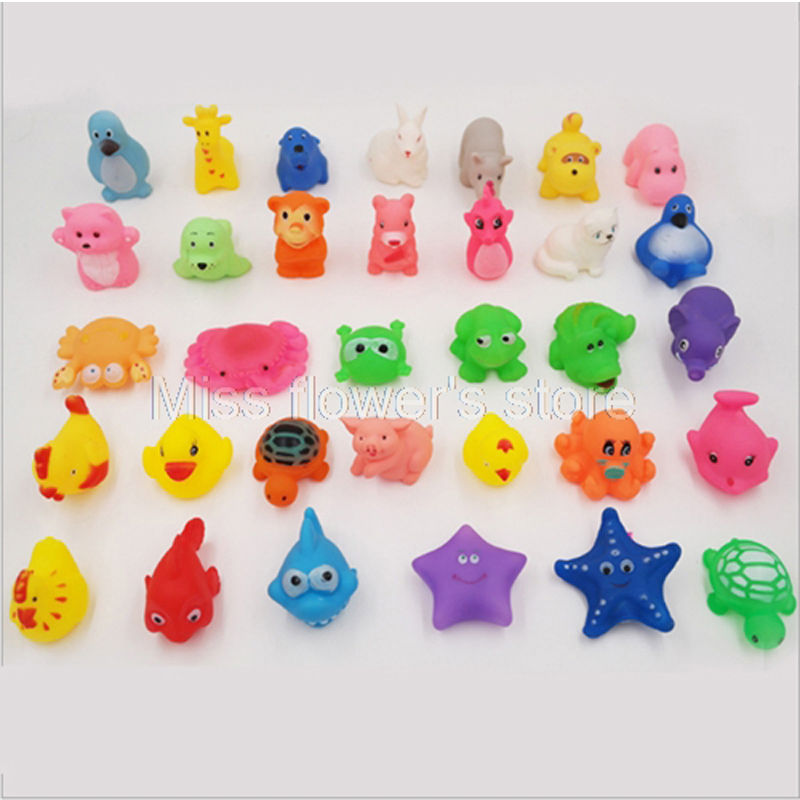 Cute Animals Kids Toy Soft Rubber Float Sqeeze Sound Baby Wash Bath Swimming Play Dog Cat Toys
