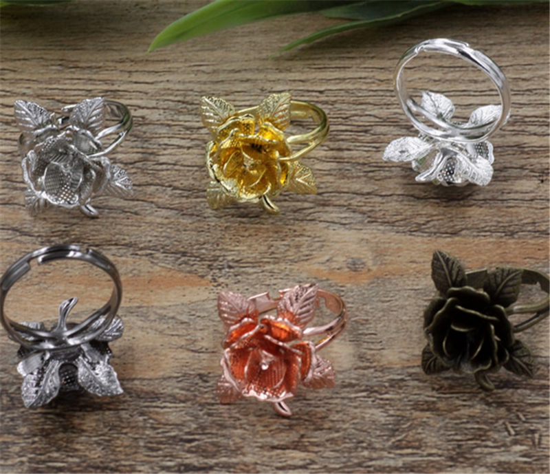 20Pcs 6 Colors 20mm Flower Base Ring Settings Vintage Jewelry Findings & Components Adjustable Ring Base