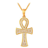 Crystal ANKH Cross Charm Pendant Necklace Women Men Jewelry Gold Platinum Plated Egypt Peace Faith Key