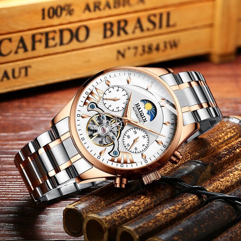 HAIQIN Men's Watches Watch Men 2019 Gold Luxury Men's Mechanical Watch Military Sports Waterproof Clock Brand Relogio Masculino