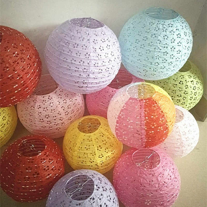 8-10-12-16Inch Chinese Style Hollow Paper Lanterns Wedding Lanterns Paper Lampshade Holiday Party Supplies Children DIY Lanterns