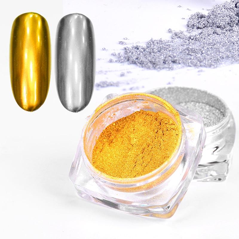 Золотые и Серебристые алюминиевые хлопья для ногтей с блестящим зеркальным эффектом, порошки с блестками, Гель лак для ногтей, хромированные пигментные украшения|Блестки для ногтей| | АлиЭкспресс