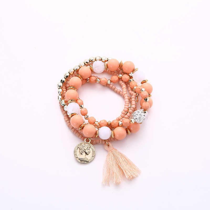 Citrine rose quartz สร้อยข้อมือผู้หญิง lamoon tree หมายถึงความงามเหรียญพู่ B001