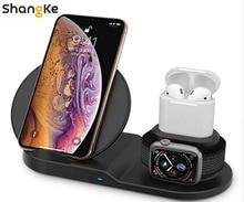 Беспроводное зарядное устройство, 3 в 1 беспроводная зарядная подставка для Apple Watch, зарядная станция для Airpods, Fast беспроводная док-станция для зарядного устройства (черный)