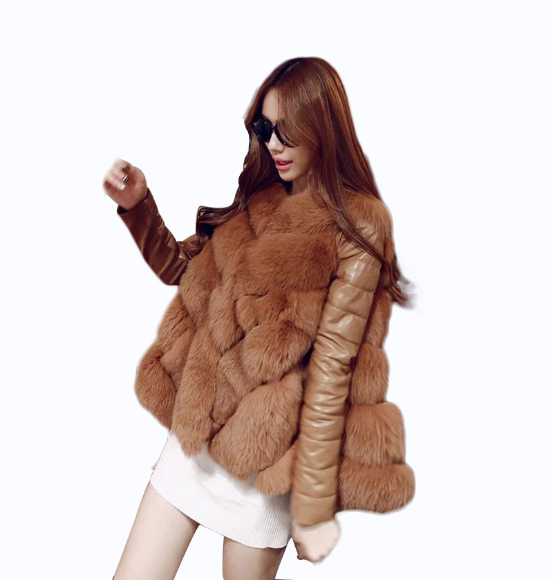 2017 New Winter Womens Fashion Luxurious Faux Fur Splice PU Sleeves Socialite Thick Warm Leather Jacket Parkas Big Yards Coat