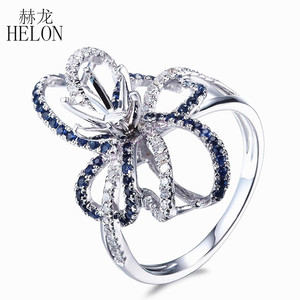 Image 2 - HELON 6.5mm okrągły Cut stałe 10 K białe złoto 0.6ct naturalny szafir i diamenty Semi Mount pierścionek zaręczynowy ślub biżuteria z kamieni szlachetnych