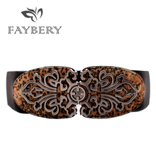 Western Boho Belts for Women Metal Buckle Belt Leopard Printed Elastic Wide Dresses Luxury Woman Cummerbund