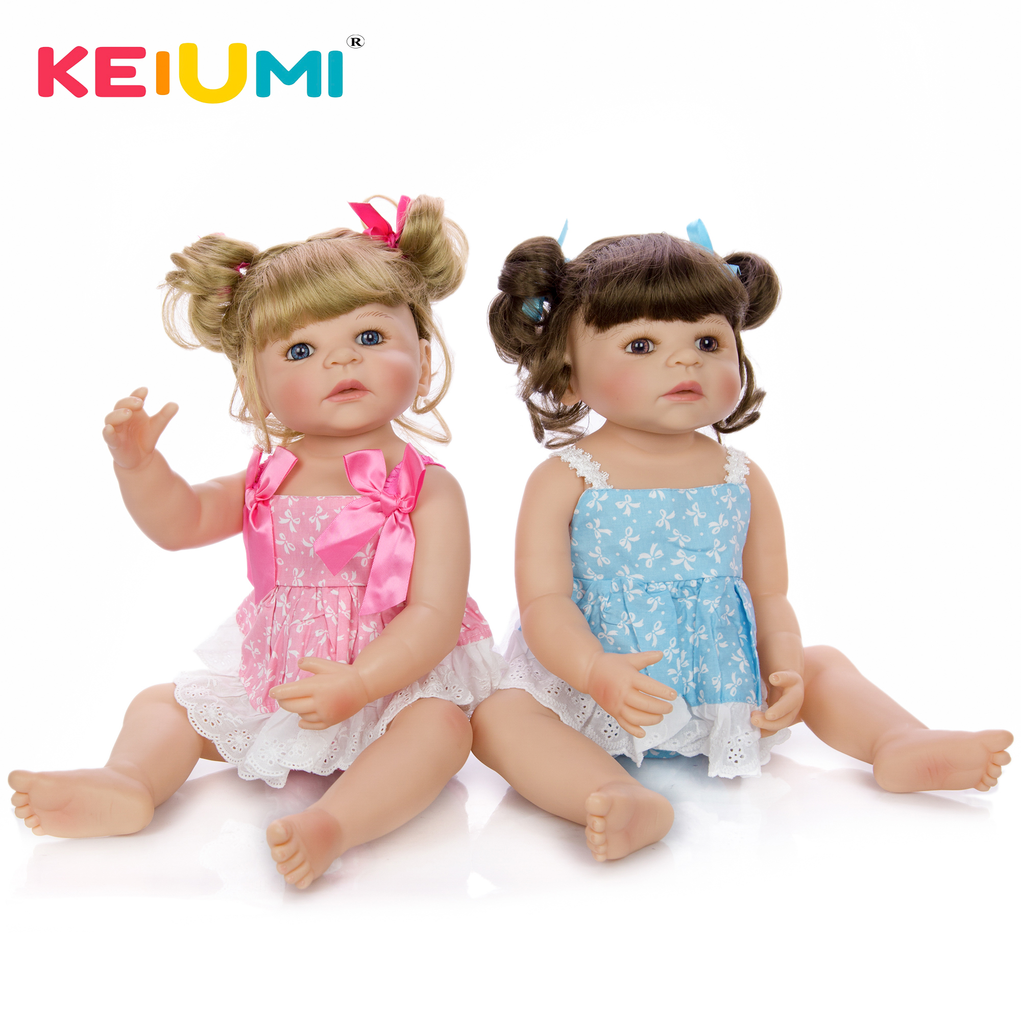 New Arrival 22 Reborn Dolls Full Silicone Body Newborn Girl Twins Doll Baby Toy With Gold