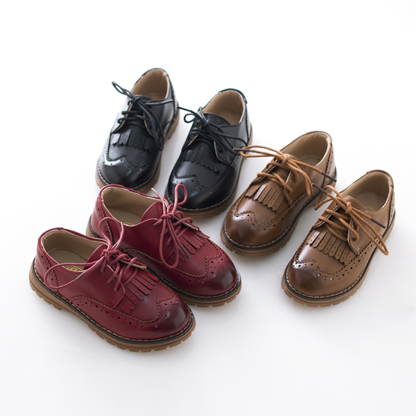 2016 осенне-Зимней Моды Старинные Кожаные Ботинки Мальчиков и Девочек Обувь Одного Ребенка Повседневная Кисточкой Обувь Рождественский Подарок Для ребенок