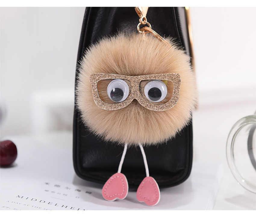 Usar óculos Animal Keychain 8 centímetros Faux Fur Pompom bola da Chave de Cadeia Lindo Carro Saco Encantos Chave Pingentes Anel feminino acessórios K1675