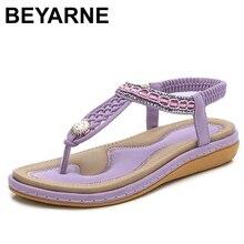 Beyarne elástico sandálias femininas de palha string beading plataforma apartamentos sandálias praia quente sapatos mulher plus size 36 44e665