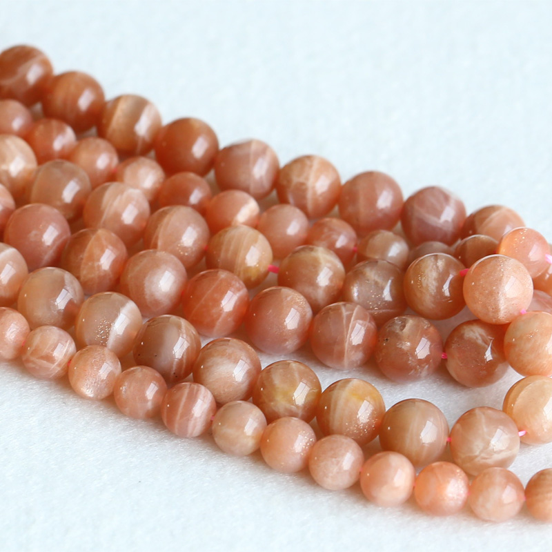 Real Genuine Natural Pink Gold Moonstone Sunstone Flash Light Round Loose Gemstone Ball Beads 6mm 8mm 10mm 12mm 15