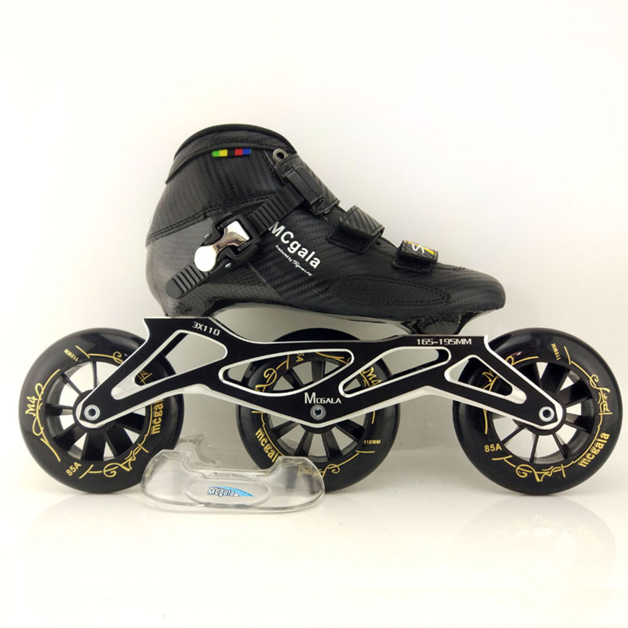 Glass Fiber Boots Professional Speed Inline Skates Women Men 3*110MM Wheels Competition Roller Skating Shoes Racing Patines powerslide inline speed skate frame 3 x 110mm aluminum alloy 7075 for 3 wheels speed skating shoes basin free shipping base