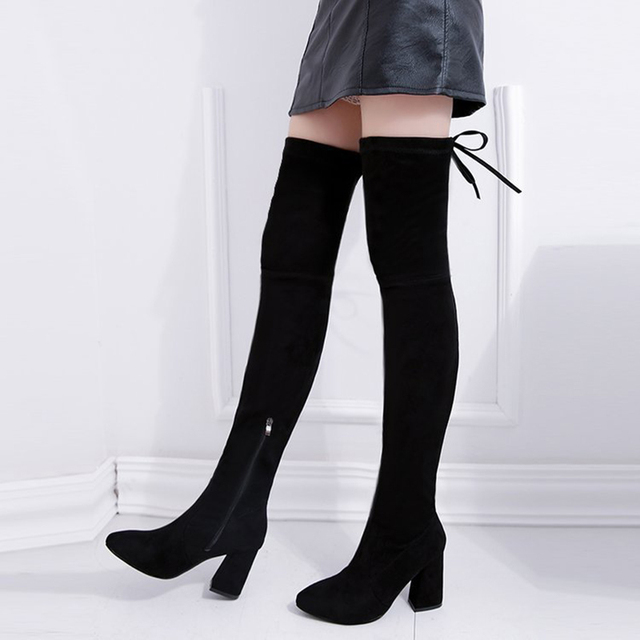 21847a64027 Women Winter High Boots Thick Heels Over The Knee Boots High Heels Female  Shoes Pointed Toe Knee High Boots Suede Women Shoes