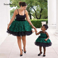Emerald green cute little kids baby girls birthday party dresses ball gown girl puffy tulle prom evening gown with bow
