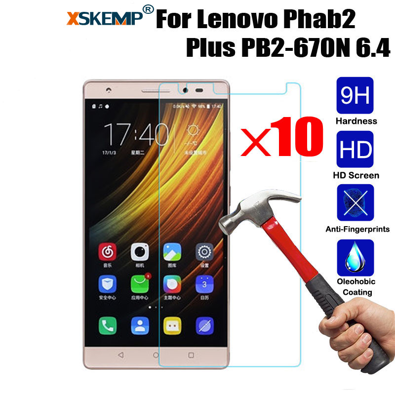 XSKEMP 10Pcs/Lot For Lenovo Phab2 Plus PB2-670N 6.4 Tablet Tempered Glass Screen Protector 9H Transparent Clear Protective Guard