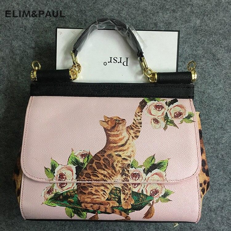 Marca de luxo Itália Sicília Moda Flores Impresso Bolsa do Couro Genuíno Bolsa Das Mulheres do Leopardo Do Gato Senhora Mensageiro Sacos de Ombro